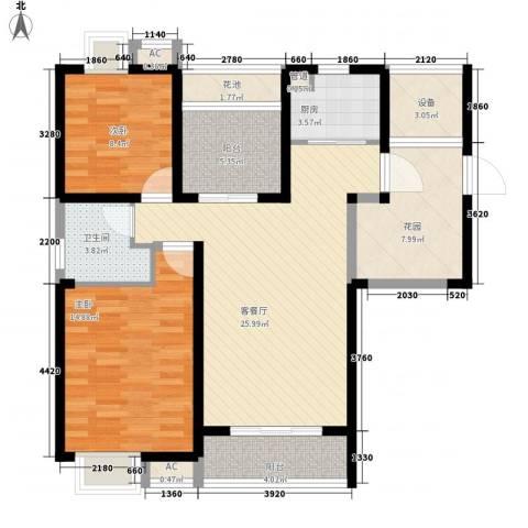 无锡滨湖万达广场2室1厅1卫1厨118.00㎡户型图