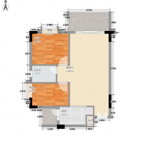 蜜糖苑2室1厅1卫1厨80.00㎡户型图