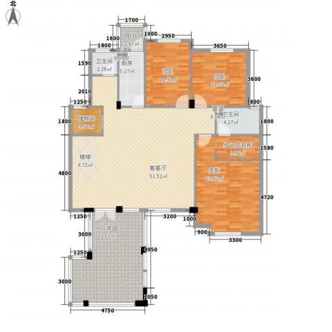 洪城比华利3室1厅2卫1厨190.00㎡户型图