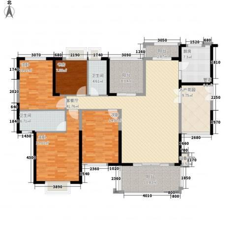 星河丹堤4室1厅2卫1厨205.00㎡户型图