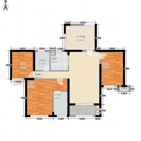 西双版纳滨江果园避寒度假山庄3室1厅2卫1厨140.00㎡户型图