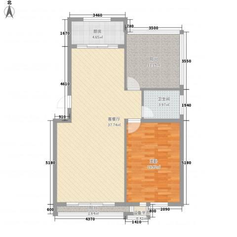 万达星城1室1厅1卫1厨107.00㎡户型图