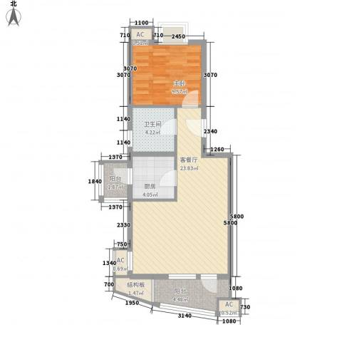 观景园1室1厅1卫1厨60.00㎡户型图