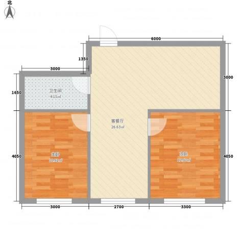 万达星城2室1厅1卫0厨74.00㎡户型图