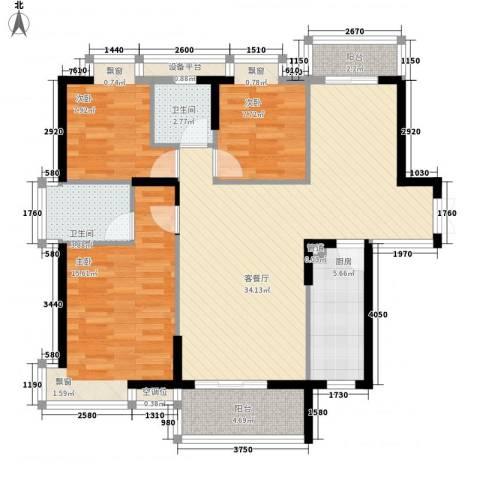 万达星城3室1厅2卫1厨124.00㎡户型图