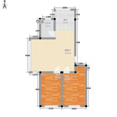 东关南里2室1厅1卫0厨78.00㎡户型图