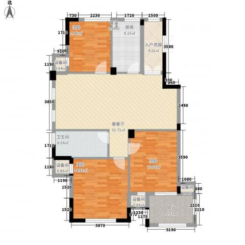 星汇半岛3室1厅1卫1厨120.00㎡户型图