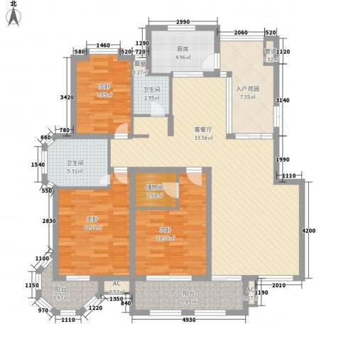 华源山水国际3室1厅2卫1厨143.00㎡户型图