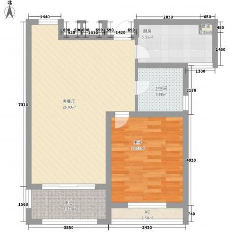华源山水国际1室1厅1卫1厨76.00㎡户型图