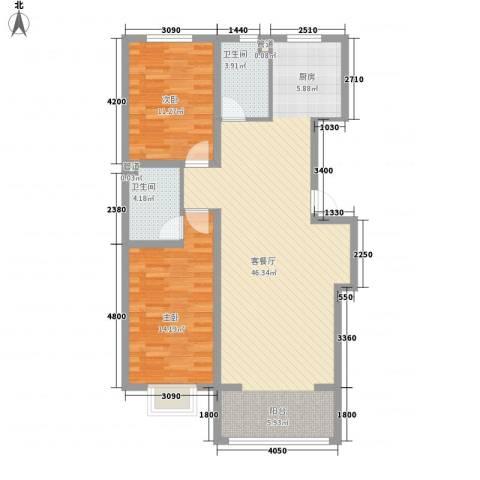公元大道2室1厅2卫0厨108.00㎡户型图