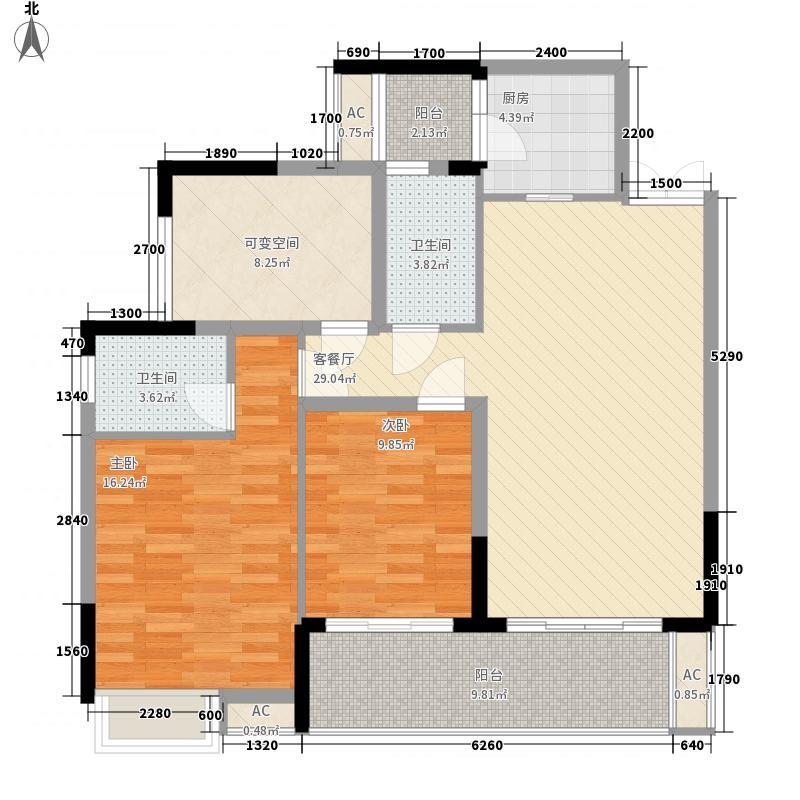 海宁现代城100.67㎡一期1-5号楼31层A1户型2室2厅2卫1厨