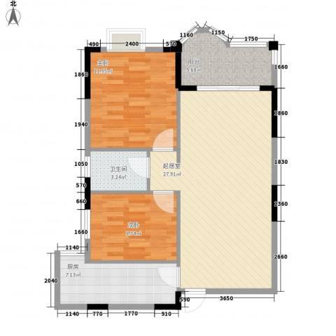霞晖花园2室0厅1卫1厨88.00㎡户型图