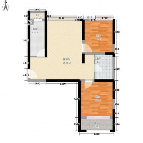 浩华香颂国际城2室1厅1卫1厨84.00㎡户型图