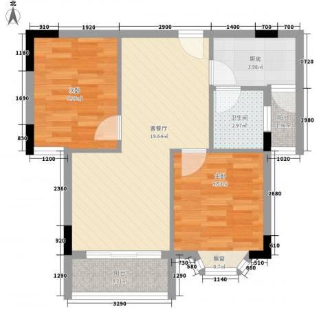 裴庄新村2室1厅1卫1厨72.00㎡户型图