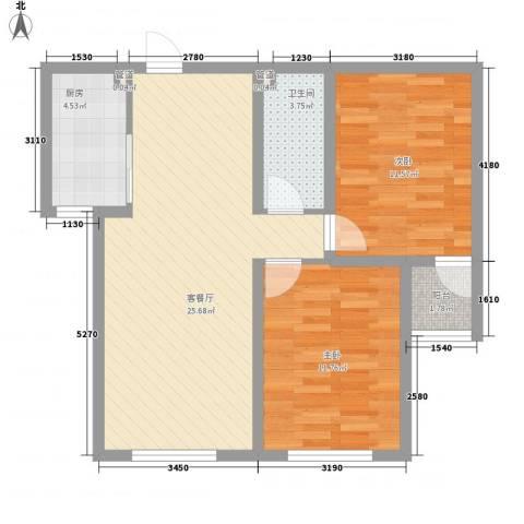 御品星城2室1厅1卫1厨85.00㎡户型图