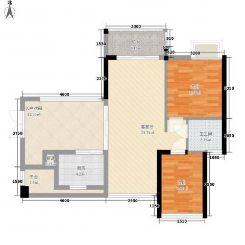 君华香柏广场2室1厅1卫1厨80.00㎡户型图
