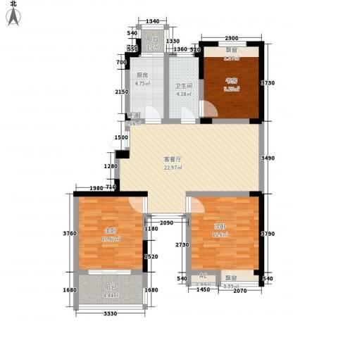 东方威尼斯3室1厅1卫1厨103.00㎡户型图