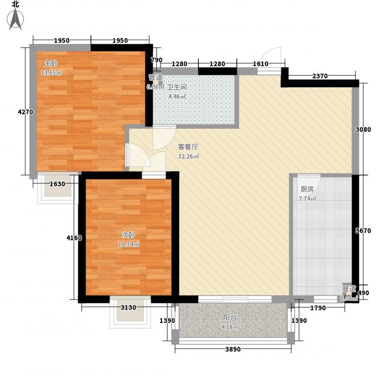 康桥国际104.50㎡B2型户型2室2厅1卫1厨