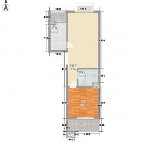 世桥国贸公寓1室1厅1卫1厨85.00㎡户型图