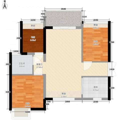 君华香柏广场3室1厅1卫1厨91.00㎡户型图