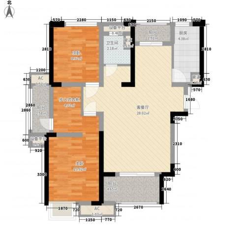 绿地香颂2室1厅1卫1厨104.00㎡户型图