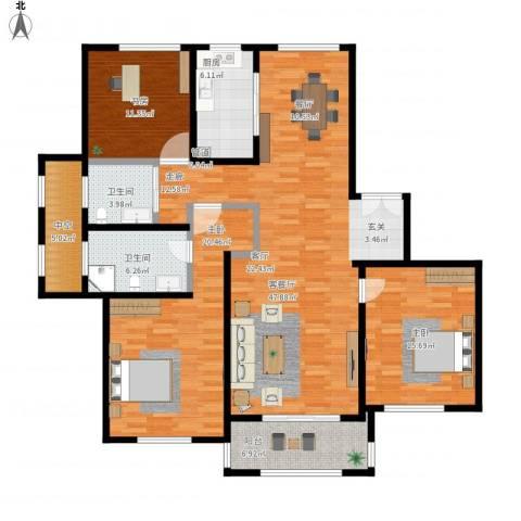 宝华海尚郡领3室1厅2卫1厨174.00㎡户型图