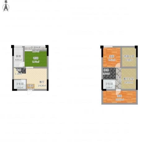 同景跃城2室1厅2卫1厨109.00㎡户型图
