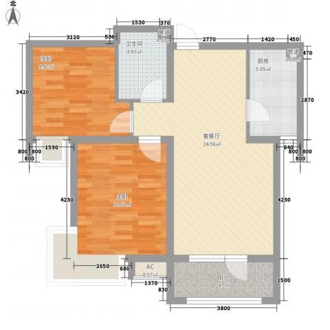 晨光国际花园2室1厅1卫1厨88.00㎡户型图