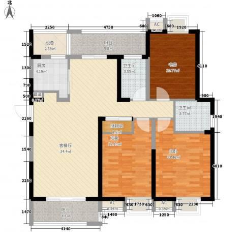 无锡滨湖万达广场3室1厅2卫1厨143.00㎡户型图