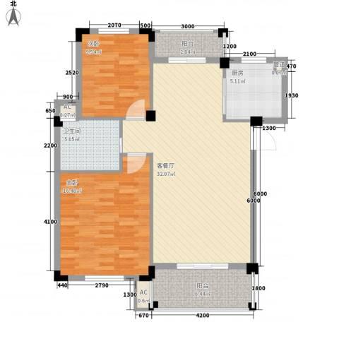 丰和新城二期2室1厅1卫1厨90.00㎡户型图