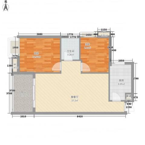 宝铼雅居2室1厅1卫1厨81.00㎡户型图