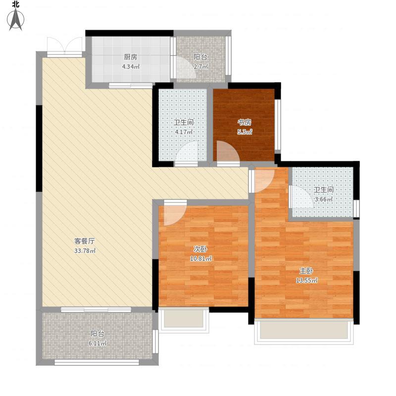 和睦人家B3户型2室2厅2卫106.66平米