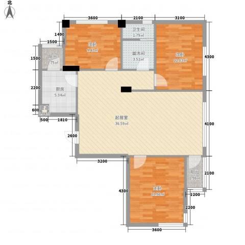 安邦阳光尚城3室0厅1卫1厨121.00㎡户型图