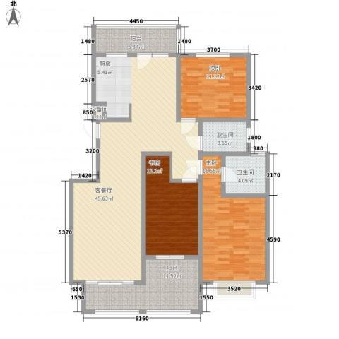 银河龙门花园3室1厅2卫0厨158.00㎡户型图