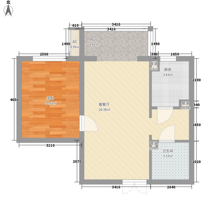 上东上品65.82㎡A、I户型1室2厅1卫1厨
