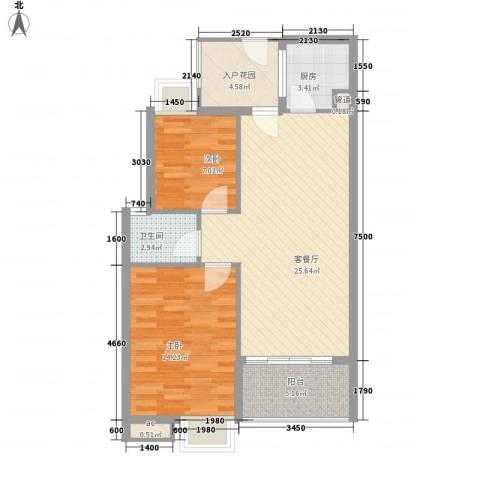 宝铼雅居2室1厅1卫1厨71.00㎡户型图