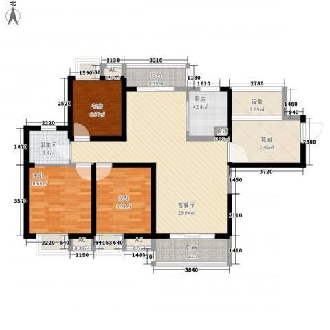 无锡滨湖万达广场3室1厅1卫1厨122.00㎡户型图