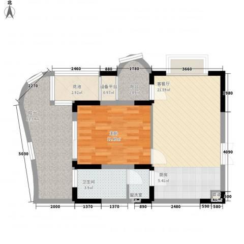 五指山圣河湾1室1厅1卫0厨66.08㎡户型图