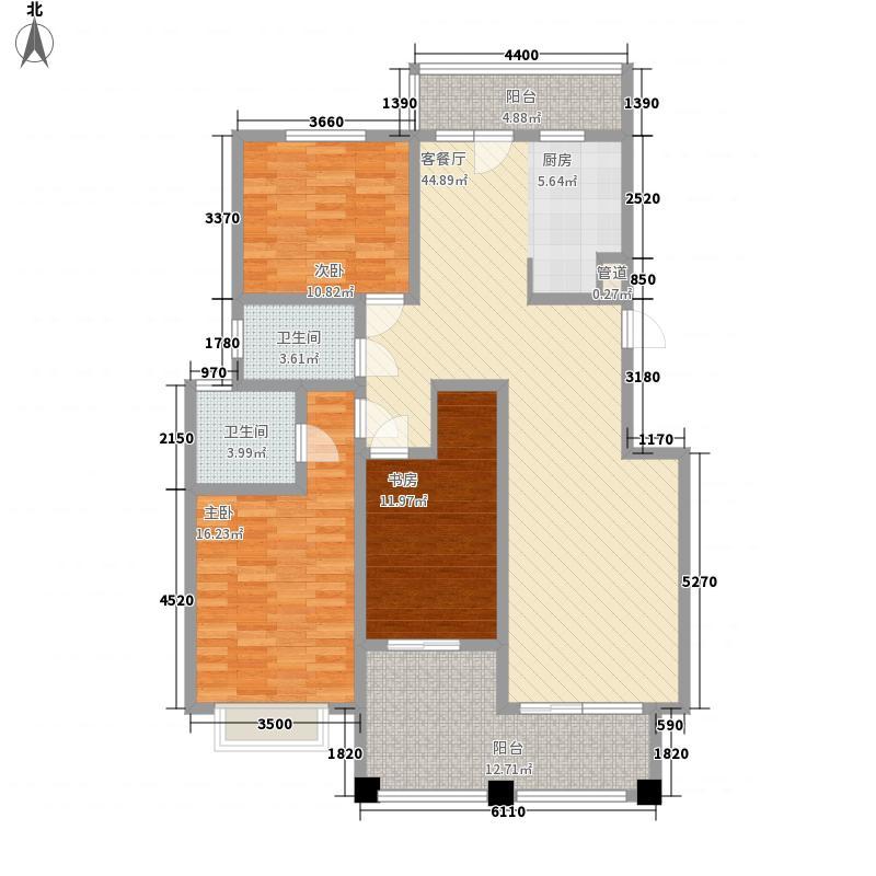 银河龙门花园157.24㎡二期D2-D4号楼F户型3室2厅2卫1厨