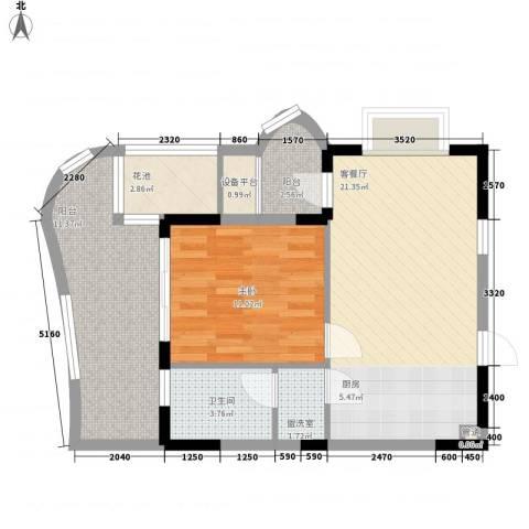 五指山圣河湾1室1厅1卫0厨64.14㎡户型图