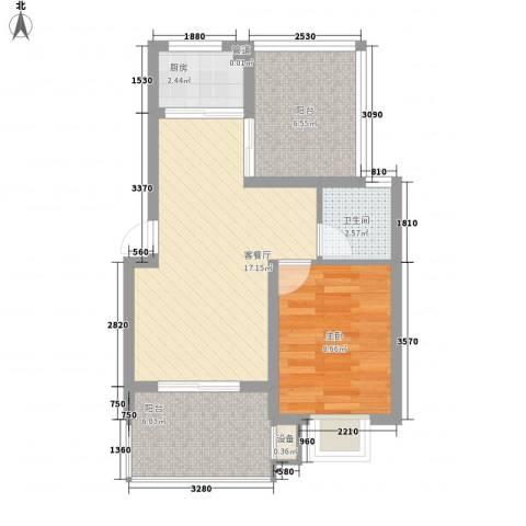 世纪尊园1室1厅1卫1厨64.00㎡户型图