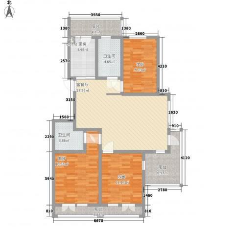 银河龙门花园3室1厅2卫1厨133.00㎡户型图