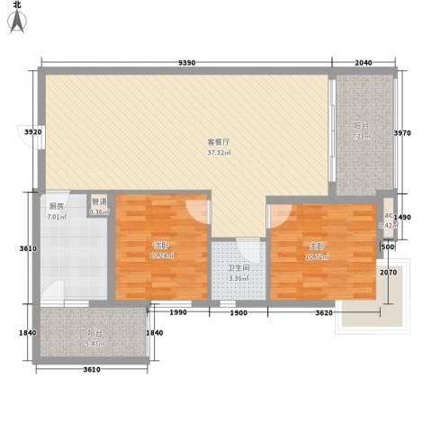 宝铼雅居2室1厅1卫1厨82.10㎡户型图