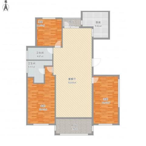 半岛公馆3室1厅2卫1厨183.00㎡户型图