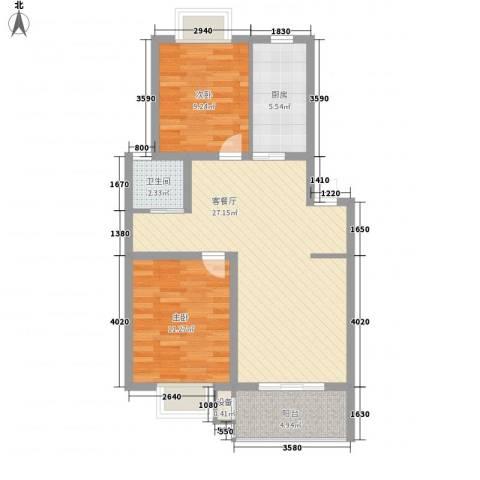 世纪尊园2室1厅1卫1厨88.00㎡户型图
