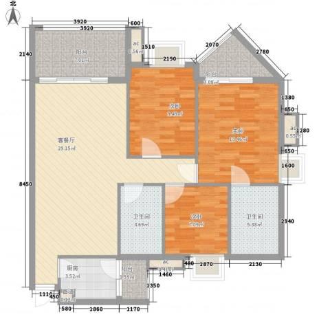 宝铼雅居3室1厅2卫1厨87.00㎡户型图