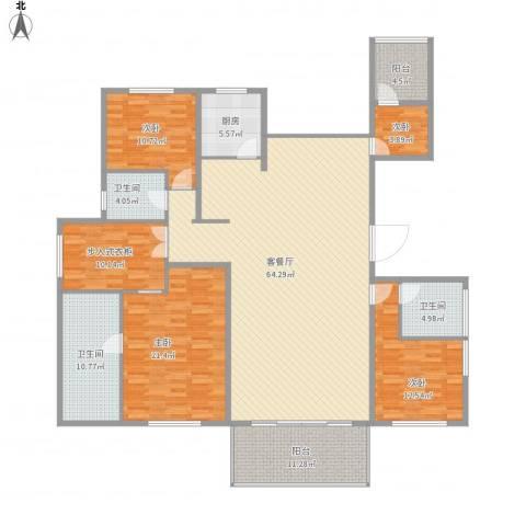 半岛公馆4室1厅3卫1厨225.00㎡户型图
