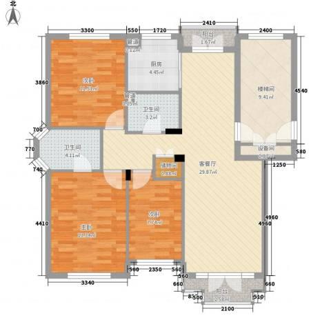 星海中龙园3室1厅2卫1厨128.00㎡户型图
