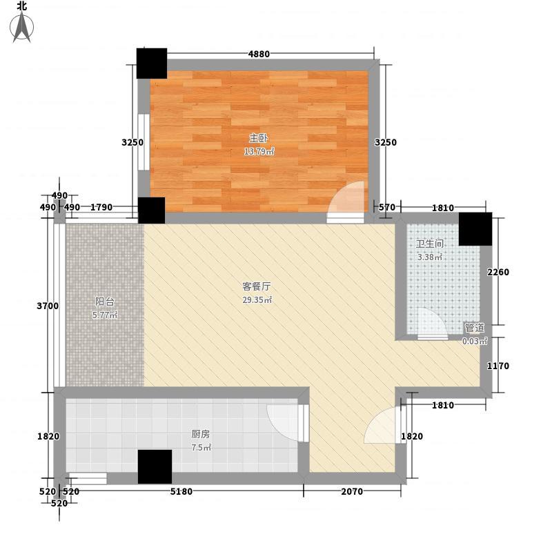 现代艺术家75.80㎡75.80户型1室2厅1卫1厨