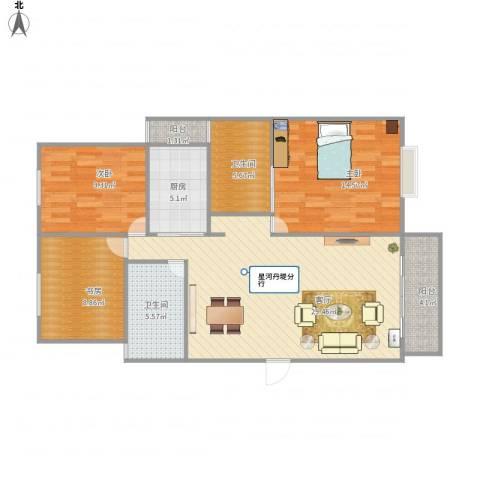 丰泽湖山庄3室1厅2卫1厨113.00㎡户型图